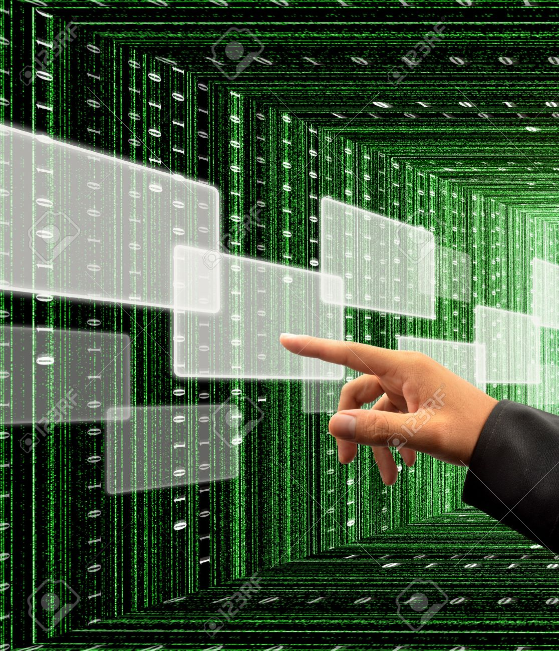 10051581-hand-pushing-a-button-on-a-touch-screen-interface-with-digital-matrix-background-Stock-Photo