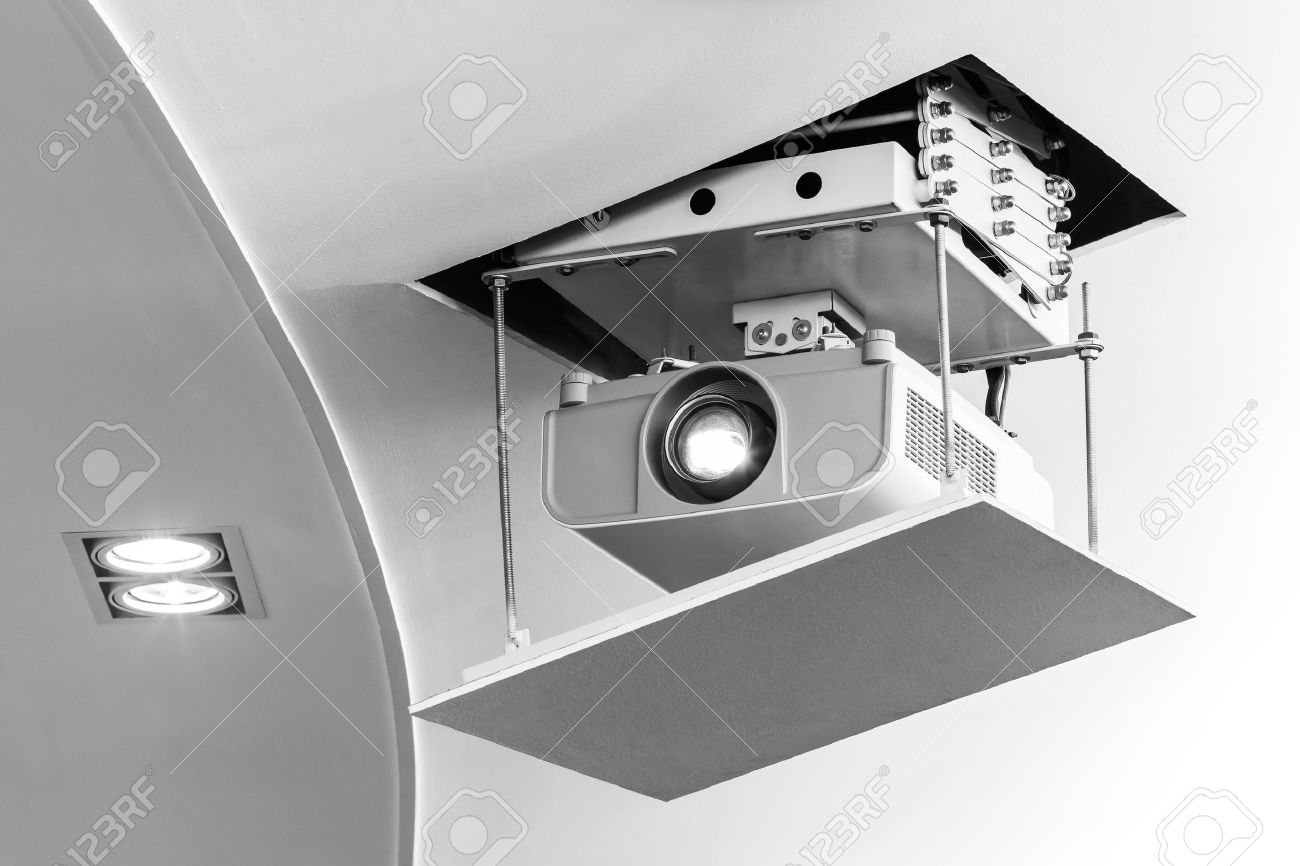 35092457-Projector-hang-on-ceiling-in-meeting-room-Stock-Photo