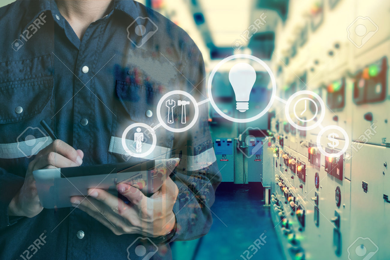 Double exposure of Engineer or Technician man using  tablet in s